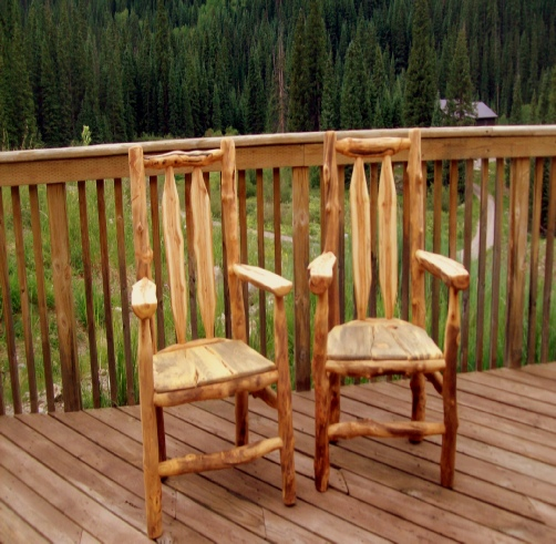 samples of outdoor aspen log furniture at rustic style furniture